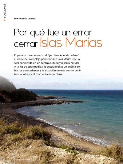 Por qué fue un error cerrar Islas Marías