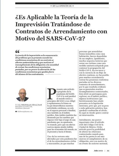 Es Aplicable la Teoría de la Imprevisión Tratándose de Contratos de Arrendamiento con Motivo del SARS-Cov-2