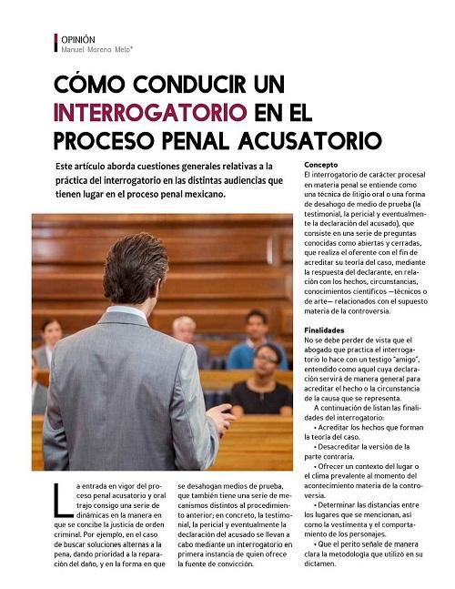 Cómo conducir un interrogatorio en el Proceso Penal Acusatorio