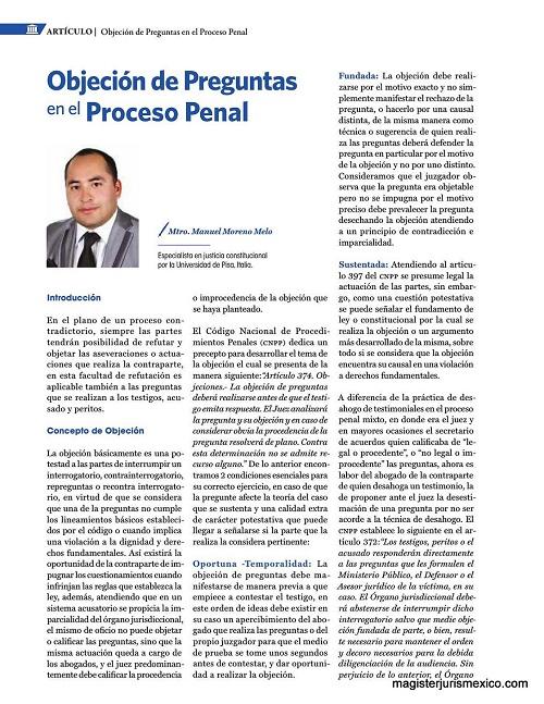 Objeción de preguntas en el proceso penal